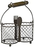 Premium Quality Utensil Holder for Cutlery – Chicken Wire 2 Compartments – Elegant Flatware Caddy Organizer – Practical Table Silverware holder by Home Essentials
