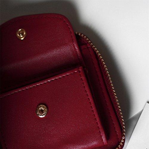 Femme Rouge Titulaires Portefeuille Argent Porte Haoling Carré Femmes Portefeuilles Mode Cuir Gland Monnaie En Vin Pendentif Chaud black Pochette awYIq
