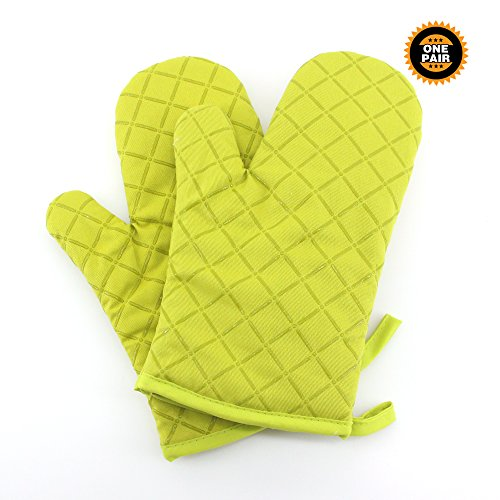 Oven Mitts Flame Retardant Mitts Quilted Silicone Coating Kitchen Gloves (2-Pack) Green