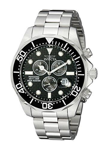 (Invicta Men's 12568 Pro Diver Chronograph Black Carbon Fiber Dial Stainless Steel Watch)