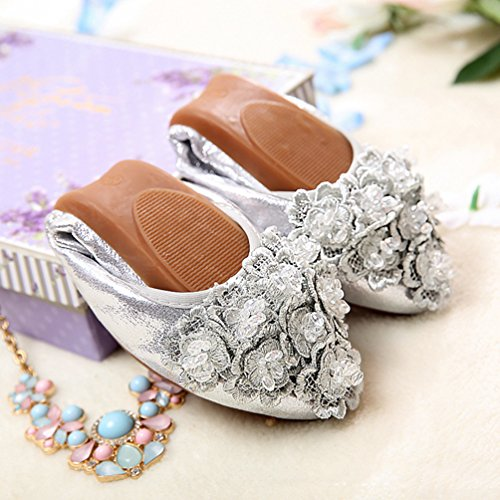 Jitong Womens Floral Driving Shoes Pointed-Toe Flat Loafers Moccasins Elegant Casual Boat Shoes for Walking Silver xctj39q5
