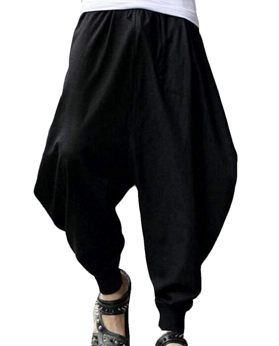 pipigo Men Elastic Waist Solid Vintage Casual Baggy Harem Jogger Pants