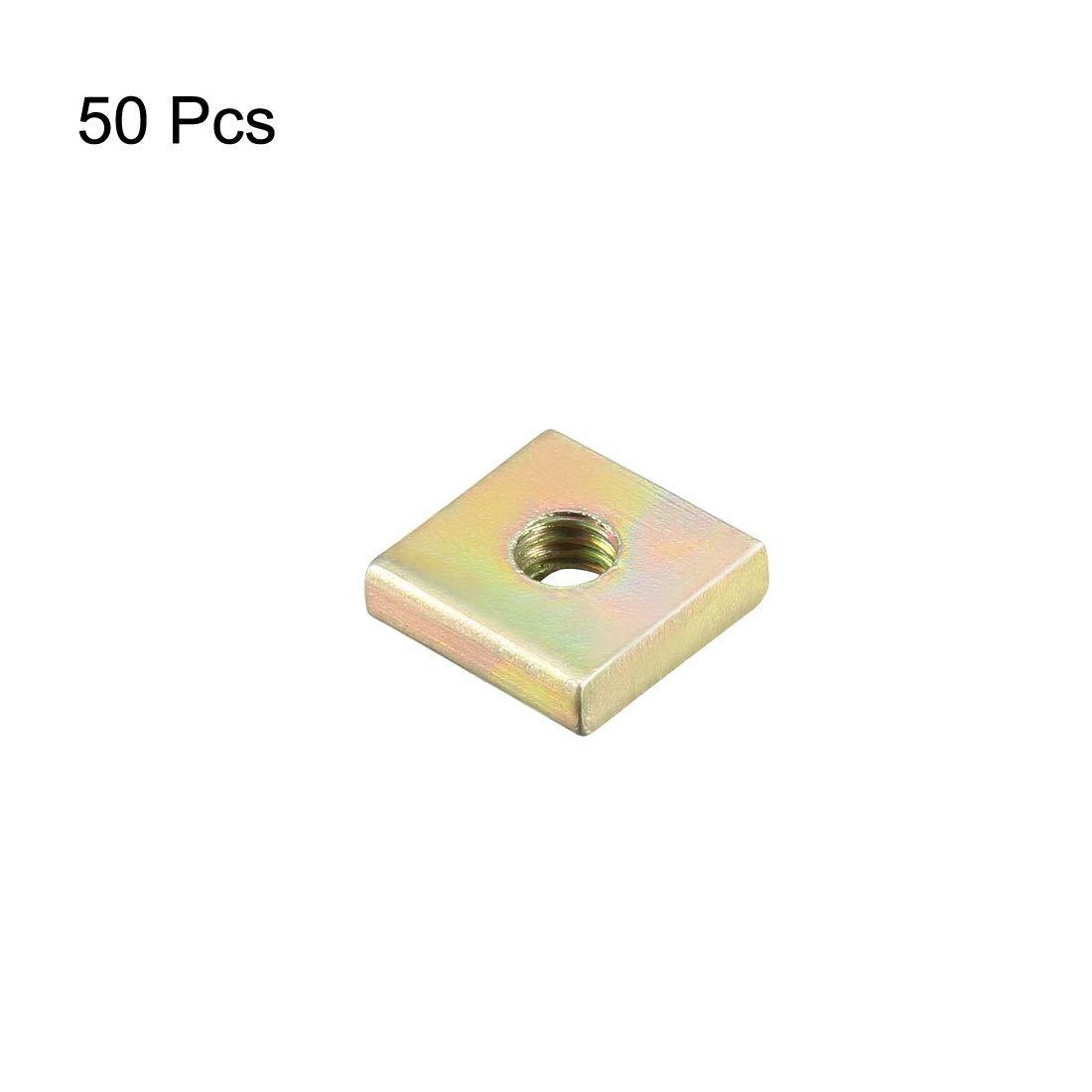 sourcing map /Écrous carr/és M3x8mmx2mm jaune Zinc plaqu/és Trousse assortiment m/étrique 100 Pcs