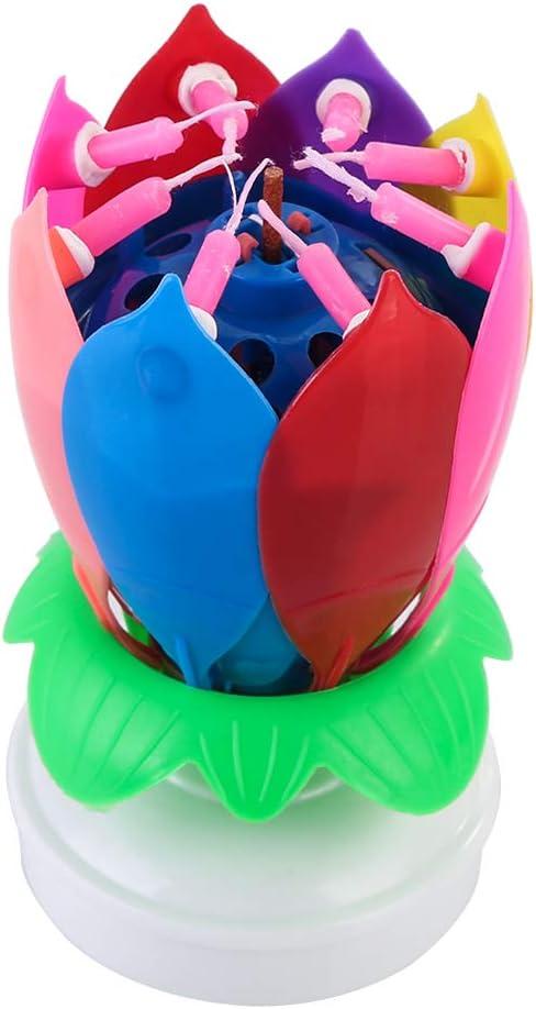 DaMohony Vela para Pastel de cumpleaños Vela de Flor decoración música para pastal de cumpleaños Feliz Vela giratoria con 8 Velas Regalo cumpleaños Creativa Coloridos