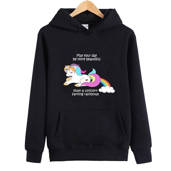 Chicas con Estampado de Arco Iris de Colores con patrón Unicornio Sudaderas con Capucha de Manga Larga Otoño cálido Sudaderas con Capucha más Terciopelo: ...
