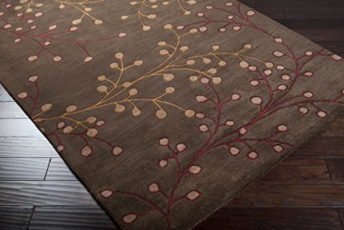 Surya Athena ATH-5052 Transitional Hand Tufted 100% Wool Dark Chocolate 5' x 8' Floral Area Rug (Chocolate Transitional Rug)