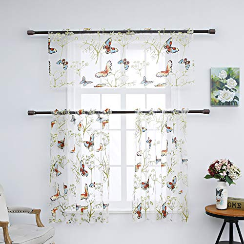 Annlaite 3 Pieces Butterfly Kitchen Sheer Curtains Tier Curtains and  Valance Set Printed Plant Short Curtain for Living Room Bedroom Rod Pocket  Top ...