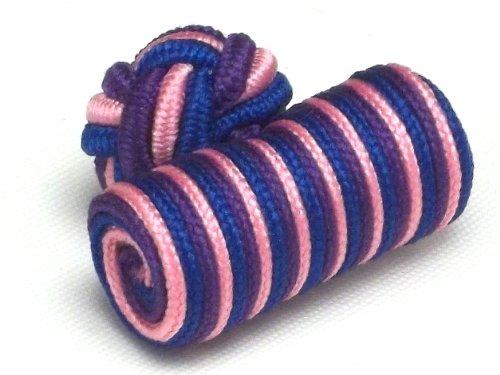 Boutons de manchette - Passementeries cylindres violets, roses et bleus