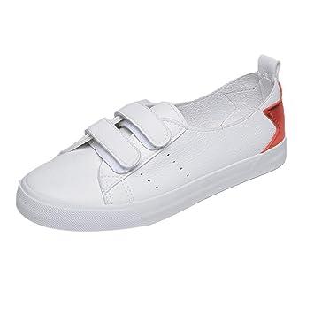 ab7fa791dd ZHRUI Zapatos Mujer Botas Moda Zapatos Solteros Mujer Chicas Primavera  Verano Moda Lienzo Plano Tablero Blanco Zapatos Casual Guisantes Botas  (Color   Rojo