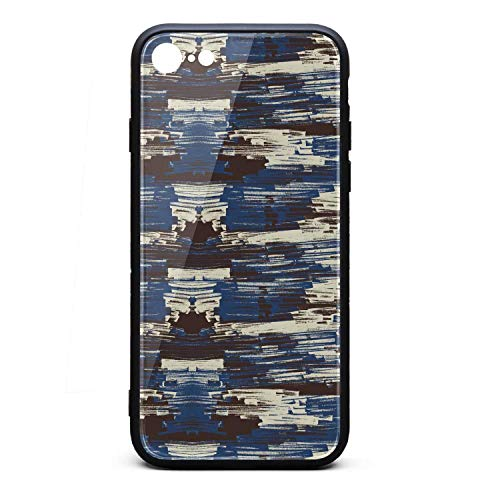 Yiastia_Minyi iPhone 6 Case, iPhone 6S Case Abstract Painting Art Blue 9H Tempered Glass Back Cover and TPU Rubber Frame Phone Cover Compatible for iPhone 6/iPhone 6S