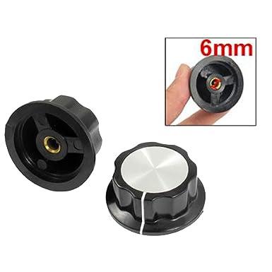 506//5000 Kyrio 20PCS Potentiom/ètre Rotary Knob Cap Switch 6.4mm 0.25Shaft Hole with Silver Tone Top