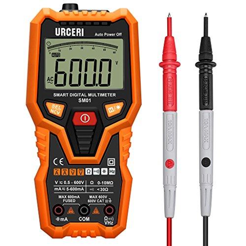 URCERI SM01 Digital Multimeter Auto Ranging DC AC Current Voltage Resistance Tester, Black and Orange - 6 Way Voltage Tester