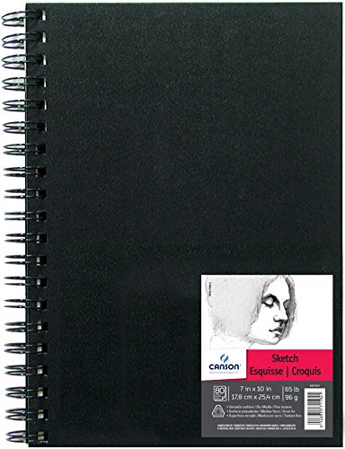 Canson Artist Series Sketch Book Paper Pad, for Pencil and Charcoal, Acid Free, Side Wire Bound, 65 Pound, 7 x 10 Inch, 80 Sheets