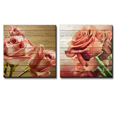 Bouquet of Vintage Pink Roses Along with a Bouquet of Orange Roses Over Wooden Panels