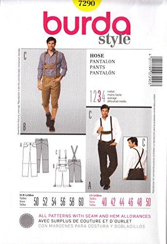 [Men's German Lederhosen Pants Pattern 40-50 Burda 7290] (Bavarian Costume Sewing Patterns)