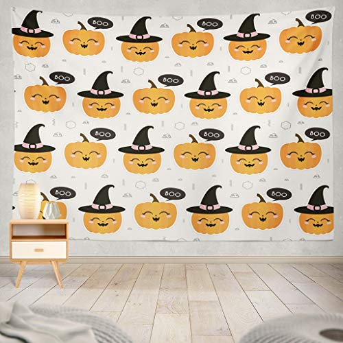 KJONG Halloween Autumn Fall Cute with Pumpkins and Geometric Mask and Can Jack Lantern Animal Autumn Baby Black Decorative Tapestry,60X80 Inches Wall Hanging Tapestry for Bedroom Living Room