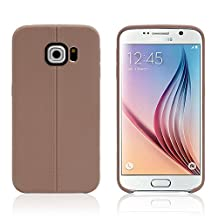 Galaxy S6 Edge Case, Asstar [Stand Feature] Ultra Slim Thin Shock Absorbing Flexible Back Cover With Soft TPU Case for Samsung Galaxy S6 Edge (Brown)