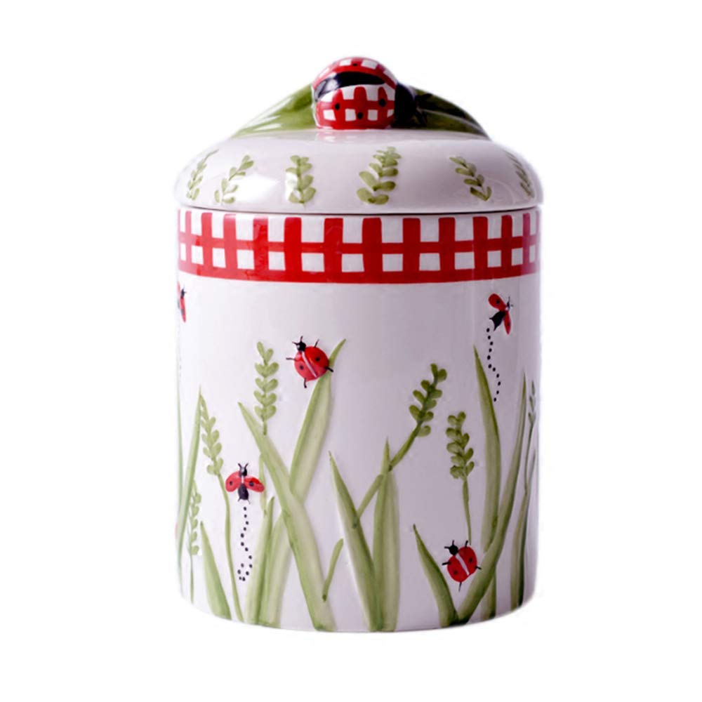 YANG WU Ceramic Storage jar, Personalized Relief Hand-Painted Dried Fruit Sealed jar, Suitable for Microwave Oven, Dishwasher, Disinfection Cabinet