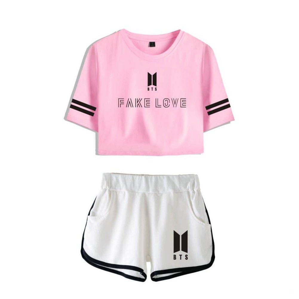 BTS T-Shirt Bangtan Boys Sport Exposed Navel Short Sleeve + Shorts Set Suga Jin Jimin Jung Kook J-Hope Rap-Monster V