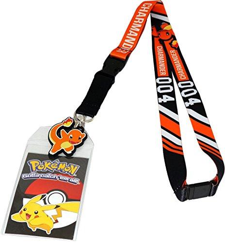 Bioworld Pokemon Charmander 004 Lanyard with ID Badge Holder & PVC Rubber Charm -