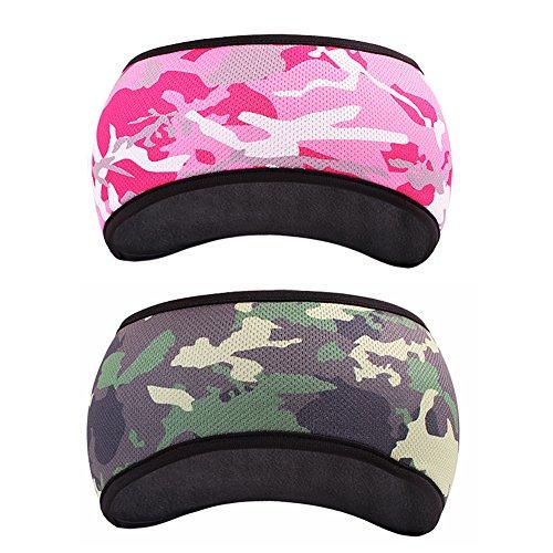 Headbands Woodland Camo - GoYonder Fleece Thermal Headbands Ear Warmers Ear Muffs (Set of 2 Colors) (Woodland Rose Camo)