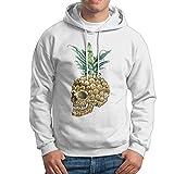Obachi Skull Pineapple Men's Long Sleeve Pullover Hooded Sweatshirt White Size S
