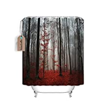 Mystic Forest Trees and Leaves Red Grass Flower Mystical Rainy Foggy Fabric Shower Curtain Country Decor, 70 inch x 70 inch,Water Proof Washable for Bathroom,Black and Gray