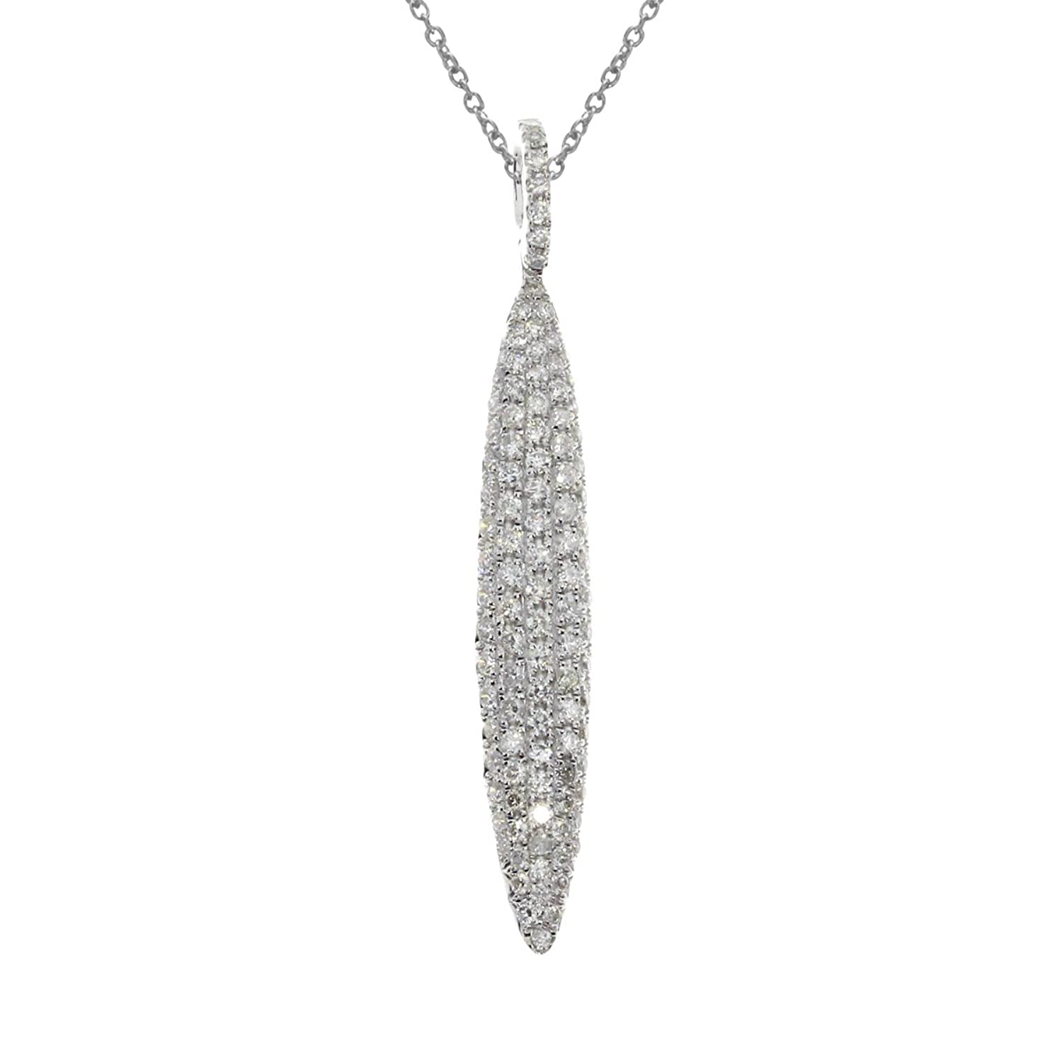 14K White Gold Long Fashion Diamond Pendant with 18