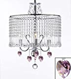 Contemporary 3-light Crystal Chandelier Chandeliers Lighting With Crystal Shade and Pink Crystal Hearts! W 16'' x H 21''