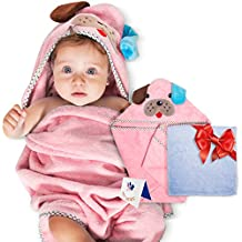 Adorable Soft Cotton Puppy Hooded Baby Towel [Pink], Large Sized:30X30 Inch | Soft Washcloth | Designed Greeting Card | Parenting eBook | Thick and Absorbent | For Infants, Toddlers and Newborns