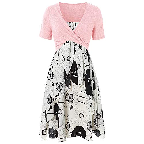 Missroo Plus Size Floral Print Layered Criss Cross Crop Top Pink