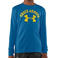 Under Armour Boys' UA Blazin' Collegiate Long Sleeve T-Shirt (Navy Blue, YMD)