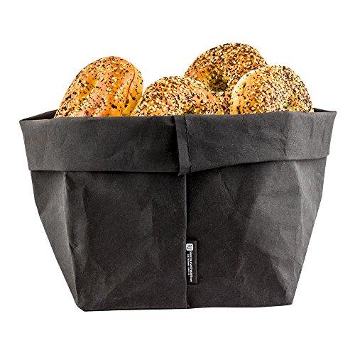 Reusable Paper Bag, Durable, Long Lasting - Black - 7.9 x 9.8 Inches - Duralux - 1ct Box - Restaurantware ()