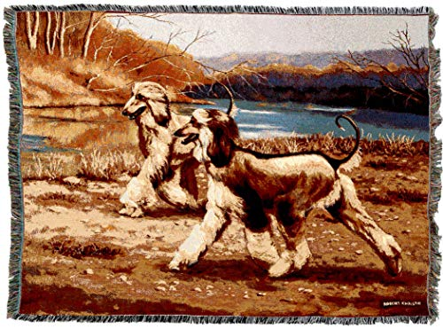 Pure Country Weavers | Afghan Dog River Walk Woven Tapestry Throw Blanket with Fringe Cotton USA 72x56