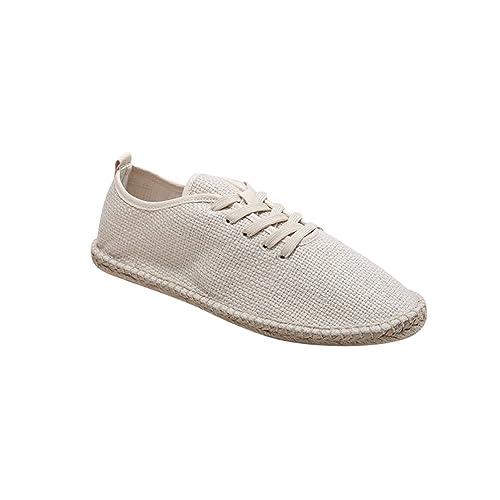 Jitong Alpargatas Bajas de Hombre Punta Redonda Zapatos de Lona Slip-on Loafers Mocasines para