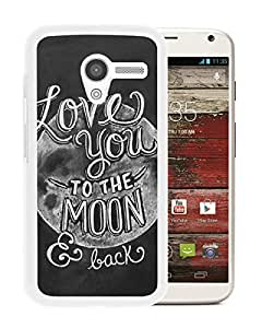 Fashionable Custom Designed Cover Case For Motorola Moto X With I Love You To The Moon And Back White Phone Case