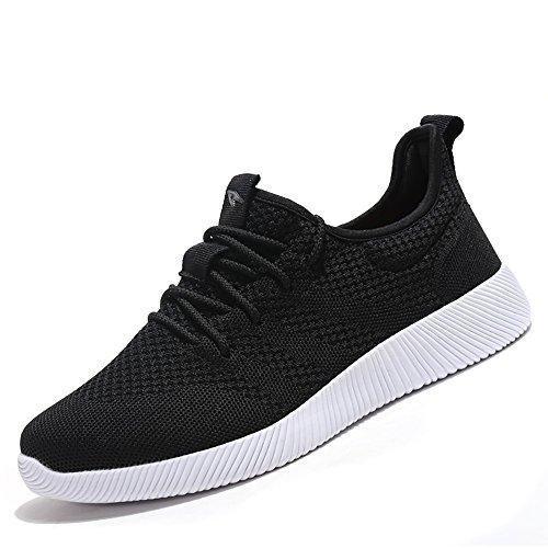 Meeshine Donna E Uomo Leggero Traspirante Scarpe Sportive Casual Moda Sneakers Scarpe Da Passeggio Nere