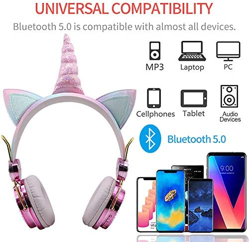 Kids Headphones, Wireless Headphones For Kids Unicorn Headphones For Girls Bluetooth Headphones W/Microphone Adjustable Headband, Over On Ear Headset For School/Kindle/Tablet/PC Online Study