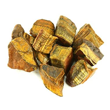 Crystal Allies Materials: 3lb Bulk Rough Gold Tiger Eye Stones from Brazil - Large 1  Raw Natural Tiger Eye Crystals for Cabbing, Cutting, Lapidary, Tumbling, and Polishing & Reiki Crystal Healing *Wholesale Lot*