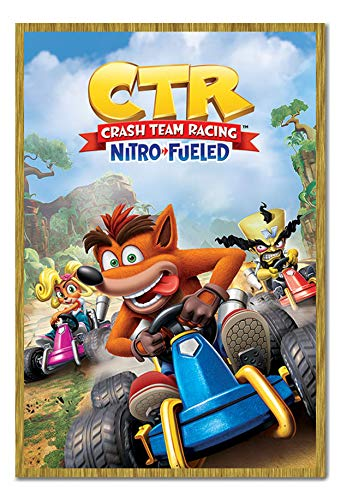 Crash Team Racing Nitro Fueled Poster Cork Pin Memo Board Oak Framed - 96.5 x 66 cms (Approx 38 x 26 inches)
