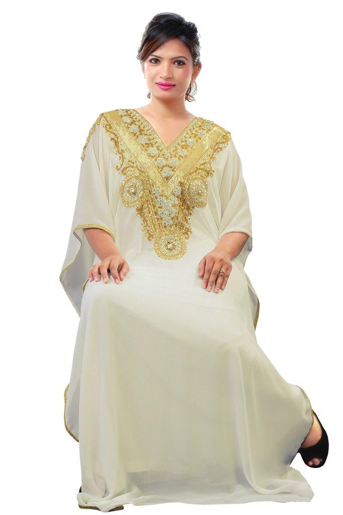 Dubai Very Fancy Kaftan Luxury Crystal Beaded Caftan Abaya Wedding Dress (XXXL White)