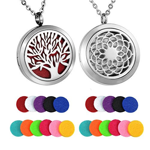 HooAMI Aromatherapy Essential Oil Diffuser Necklace - Stainless Steel Message Pendant Locket Jewelry,12 Refill Pads (2pcs Sunflower Tree)