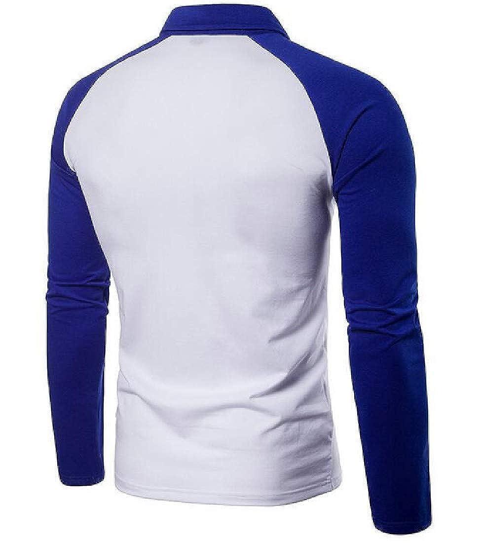 Coolred-Men Polo Button Down Long Sleeve Splice Turn-Down Collar Top T-Shirt