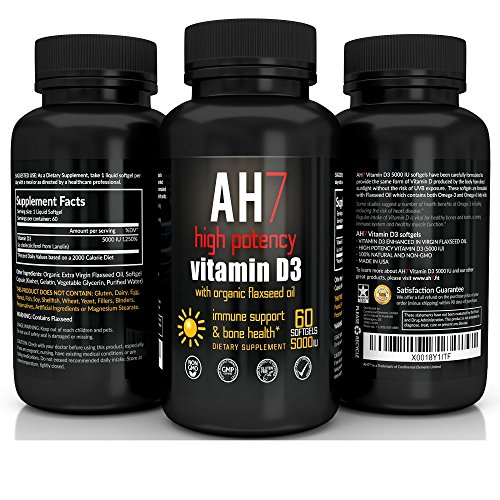 Vitamin D3 5000 IU 60 Softgels - Extra Strength Vitamin D Supplement - Organic Flaxseed Oil Omega 3 by AH7 - Best for Healthy Bones, Immune System, Insulin Resistance, Cholesterol - Made in USA (Vitamin Forte D3)