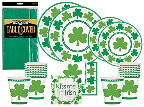 St Patricks Day Party Supplies Pack - Lucky Shamrocks - Premium Dinner Plates, Dessert Plates, Cups, Napkins and Table Cover Bundle (Serves (Green Pot O Gold Glasses)