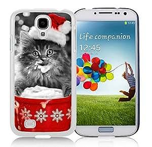 Custom Design Samsung S4 TPU Protective Skin Cover Christmas Cat White Samsung Galaxy S4 i9500 Case 35