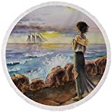 Pixels Round Beach Towel With Tassels featuring ''Girl And The Ocean Sailing Ship'' by Irina Sztukowski