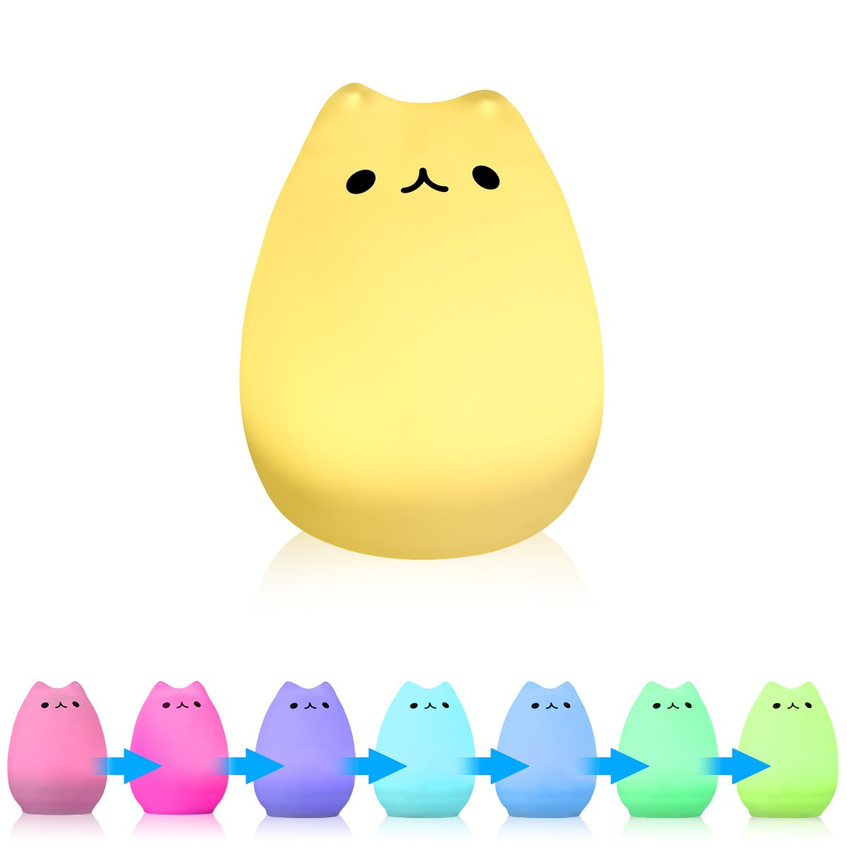 Excelvan Cute Cat Table Lamp Kitty Silicon Night Light LED with Sensitive Tap Control 7 Changing LED Romantic and Warm White Modes Kids Gift for Bedroom Bar Club Lounge