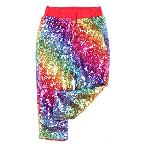 Cilucu Leggings for Baby Girls Toddler Sequin Rainbow Pants Red Kids Birthday Clothes Sparkle on Both Sides -
