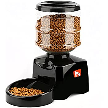 OUTAD 5.5L Automatic Pet Feeder with Voice Message Recording and LCD Screen Large Smart Dogs Cats Food Bowl Dispenser-black
